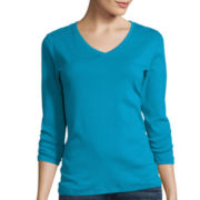 St. John's Bay® 3/4-Sleeve Essential V-Neck Top - Tall