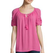 St. John's Bay® Short-Sleeve Lace-Inset Peasant Top