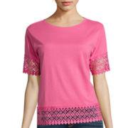 Stylus™ Short-Sleeve Crochet Trim Tee