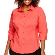 Worthington® 3/4-Sleeve Button-Front Shirt - Plus