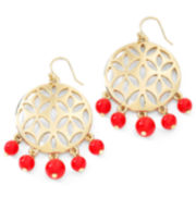 Liz Claiborne Gold-Tone & Red Bead Chandelier Earrings