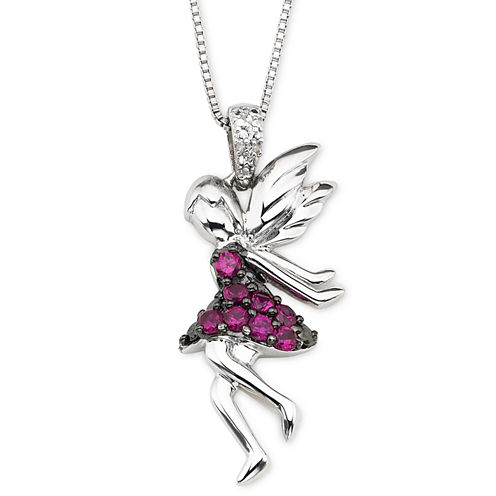 Lab-Created Ruby & Diamond-Accent Fairy Pendant Necklace
