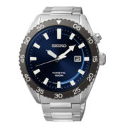 Seiko® Mens Blue Dial Silver-Tone Stainless Steel Kinetic Watch