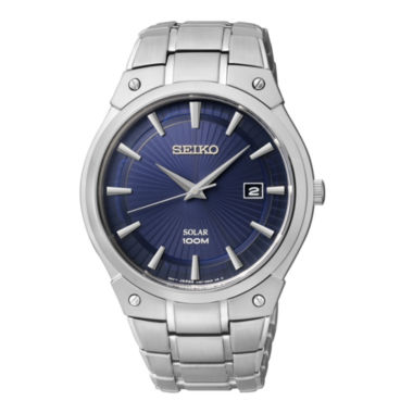 jcpenney.com | Seiko® Mens Blue Dial Stainless Steel Solar Watch SKA323