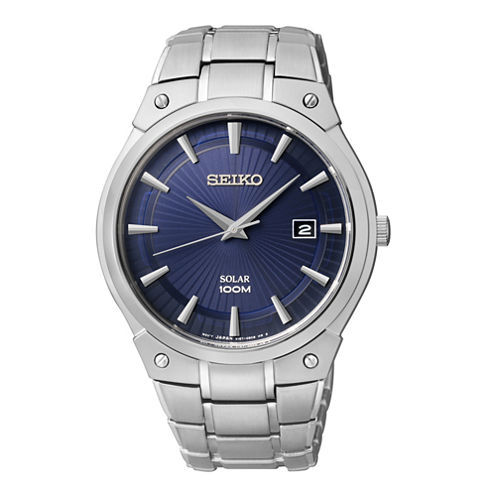 Seiko® Mens Blue Dial Stainless Steel Solar Watch SKA323