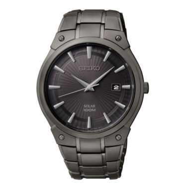 jcpenney.com | Seiko® Mens Black Ion Stainless Steel Solar Watch SNE325