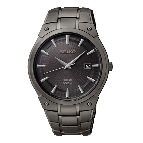 Seiko® Mens Black Ion Stainless Steel Solar Watch SNE325