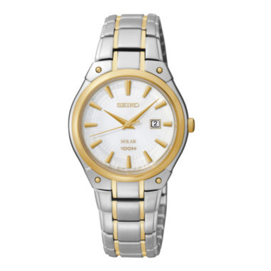 jcpenney.com | Seiko® Womens Two-Tone Stainless Steel Solar Watch SUT128