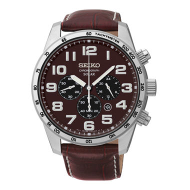 jcpenney.com | Seiko® Mens Brown Leather Solar Chronograph Watch SSC227