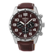 Seiko® Mens Brown Leather Solar Chronograph Watch SSC227