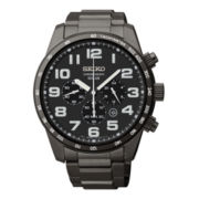 Seiko® Mens Black Ion Solar Chronograph Watch