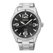 Seiko® Mens Silver-Tone Stainless Steel Solar Watch