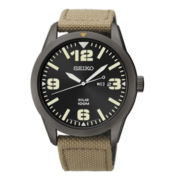 Seiko® Mens Brown Nylon Strap Solar Watch