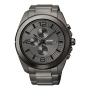 Seiko® Mens Gray Stainless Steel Solar Chronograph Watch