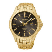 Seiko® Mens Gold-Tone Stainless Steel Kinetic Watch