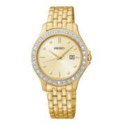 Seiko® Womens Gold-Tone Dial Swarovski® Stainless Steel Watch