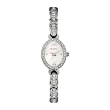 jcpenney.com | Bulova® Womens White Mother-of-Pearl Crystal Accent Watch 96L199
