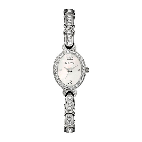 Bulova® Womens White Mother-of-Pearl Crystal Accent Watch 96L199