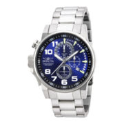 Invicta® Mens Silver-Tone Blue Dial Watch