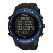 Pulsar® Mens Digital World Timer Chronograph Watch