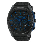 Pulsar® Mens Black Ion Blue Highlighted Chronograph Watch PT3519