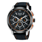 Pulsar® Mens Black Ion Orange Highlighted Chronograph Watch PT3515