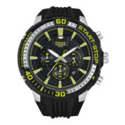 Pulsar® Mens Black Ion Yellow Highlighted Chronograph Watch