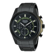 Pulsar® Mens Black Ion White Highlighted Chronograph Watch PT3523