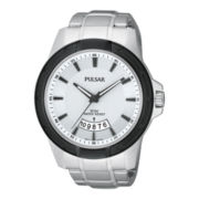 Pulsar® Mens Silver-Tone Black Ion Watch