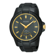 Pulsar® Mens Silver-Tone Black Ion Watch PS9273