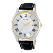 Pulsar® Mens Silver-Tone Leather Strap Roman Numeral Watch