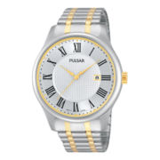 Pulsar® Mens Two-Tone Stainless Steel Roman Numeral Watch