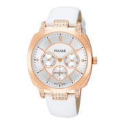 Pulsar® Womens Rose-Tone Swarovski® Multifunction Watch
