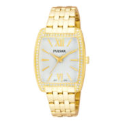 Pulsar® Womens Gold-Tone Swarovski® Tonneau Watch