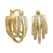 Two-Tone Diamond-Accent Multi-Hoop Earrings