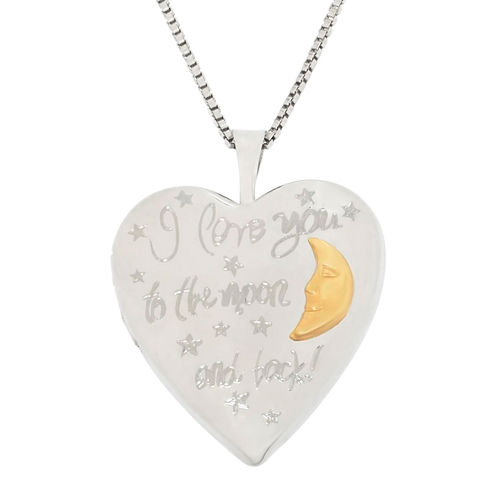 """Two-Tone Sterling Silver """"Love You To The Moon & Back"""" Locket Pendant Necklace"""