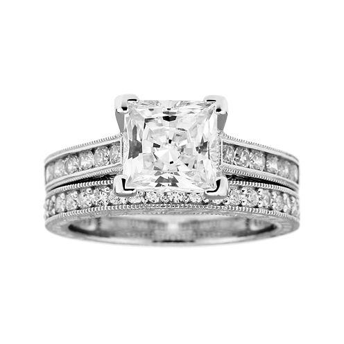 DiamonArt® Cubic Zirconia Bridal Ring Set