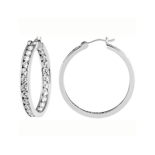 DiamonArt® Cubic Zirconia Round Hoop Earrings