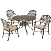 Floral Blossom 5-pc. Cast Aluminum Outdoor Dining Set