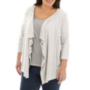 St. John's Bay® Open-Front 3/4-Sleeve Flyaway Cardigan - Plus