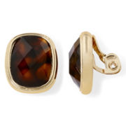 Monet® Tortoise-Look Stone Clip-On Earrings