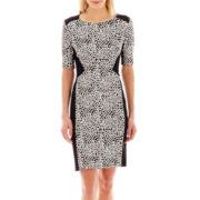 J. Taylor Elbow-Sleeve Bubble Knit Sheath Dress