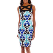 Melrose Sleeveless Cross Front Print Scuba Dress