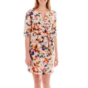 a.n.a® 3/4-Sleeve Floral Print Shirtdress