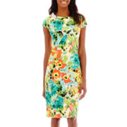 Alyx® Cap-Sleeve Floral Spliced Dress