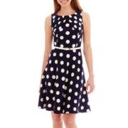 Alyx® Sleeveless Pleated-Neck Polka Dot Dress