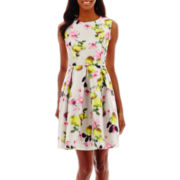 Liz Claiborne® Sleeveless Belted Floral Shantung Fit-and-Flare Dress