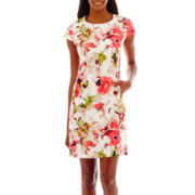 Liz Claiborne® Cap-Sleeve Textured Floral Print Dress