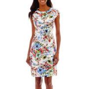 Liz Claiborne® Cap-Sleeve Floral Print Shantung Dress