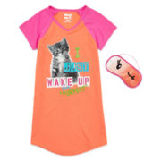Sleep On It Sleep Shirt with Mask - Girls 4-6x